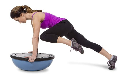 The Bosu balance trainer helps keep your core engaged and your balance tested.