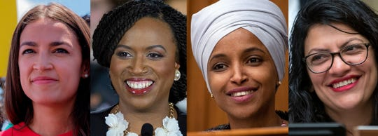 From left, Alexandria Ocasio-Cortez, Ayanna Pressley, Ilhan Omar and Rashida Tlaib are the four members of the democratic group of freshman congresswomen, 'The Squad.'