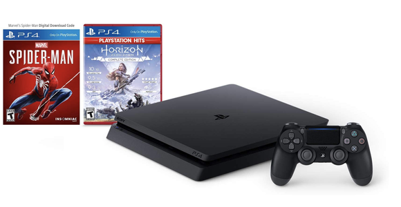 Sony PS4 Slim with Spider-Man and Horizon