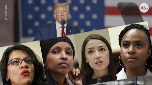 'Squad' congresswomen Rashida Tlaib, Ilhan Omar, Alexandria Ocasio-Cortez and Ayanna Pressley.