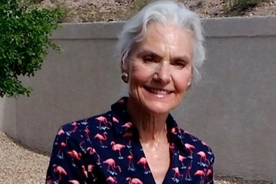 This undated handout photo released by the San Bernardino County Sheriff's Office shows 69-year-old Barbara Thomas. Authorities in California say they are searching for Thomas, an Arizona woman who went missing while hiking in the Mojave Desert. Thomas was last seen Friday, July 12, 2019, wearing a black bikini, a red baseball cap and tan hiking boots with black socks.