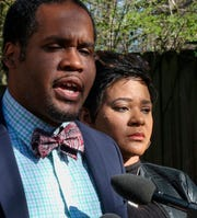 Gerald Griggs, lawyer for the Savage family, with Jonjelyn Savage at a press conference on March 6, 2019, in Decatur, Ga.
