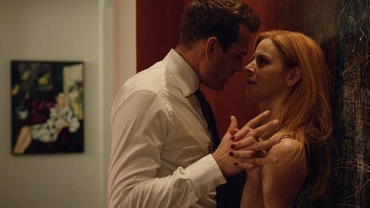 The new romantic relationship between law-firm colleagues Harvey Specter (Gabriel Macht), left, and Donna Paulsen (Sarah Rafferty) is a centerpiece of the final season of USA Network's 'Suits.'