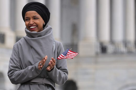 Rep. Ilhan Omar rallies with fellow Democrats before voting the People Act on March 08, 2019 in Washington, DC.