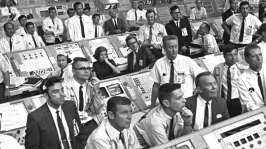 Amid the sea of white shirts, black ties and pocket protectors inside NASA's firing room for the liftoff of Apollo 11 sat JoAnn Morgan.