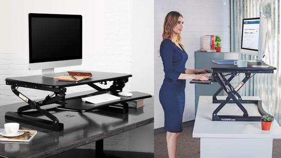 Part regular desk, part standing desk.
