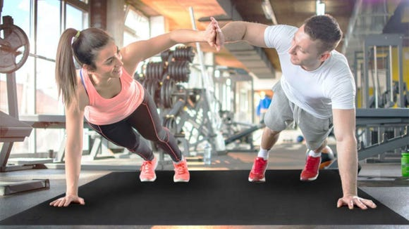 The Gxmmat Large Exercise Mat protects your floor and your joints.
