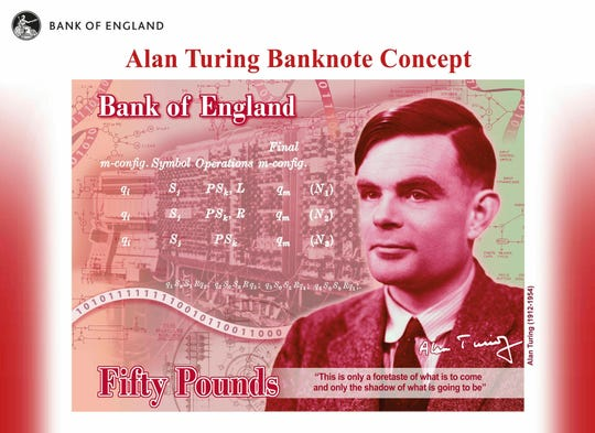 In this undated handout provided by the Bank of England on Monday, July 15, 2019, a view of the the concept of the new 50 pound note bearing the image of Second World War code-breaker Alan Turing. The Bank of England has chosen codebreaker and computing pioneer Alan Turing as the face of the country's new 50 pound note.