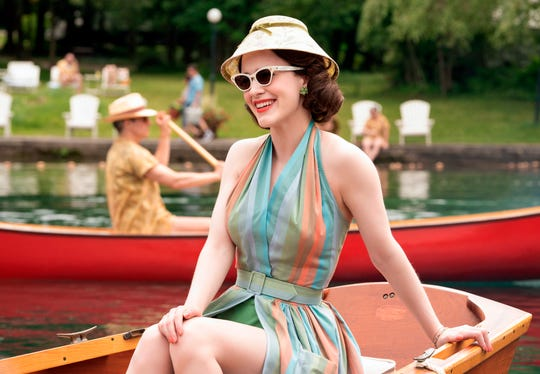 "Rachel Brosnahan films at scene for ""The Marvelous Mrs. Maisel."" Season 2 filmed Catskills scenes at the Scotts Family Resort in Broome County."
