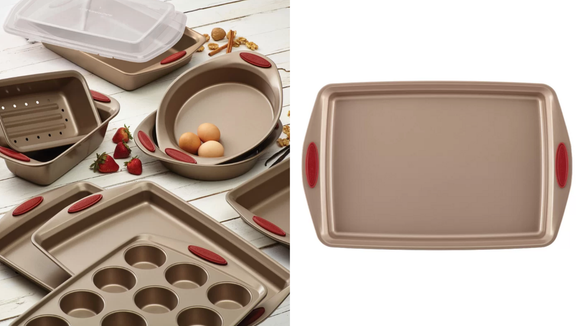 Reviewers praise this Rachael Ray Cucina 10-Piece Non-Stick Bakeware Set for its easy clean-up.