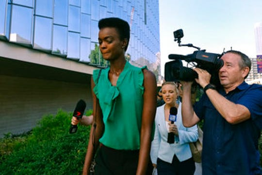 Australian-South Sudanese model Adau Mornyang arrives at the Federal Courthouse in downtown Los Angeles on Monday, July 15, 2019.