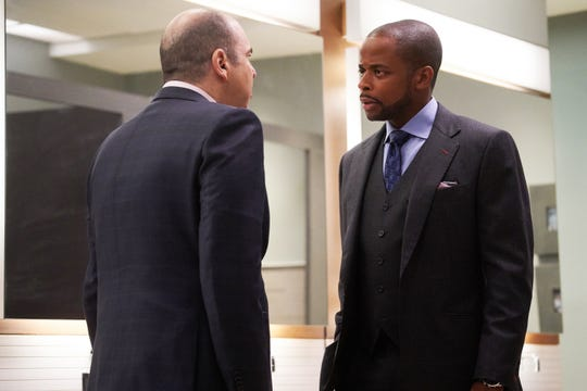 Rick Hoffman as Louis Litt and Dule Hill as Alex  in USA's 'Suits.'