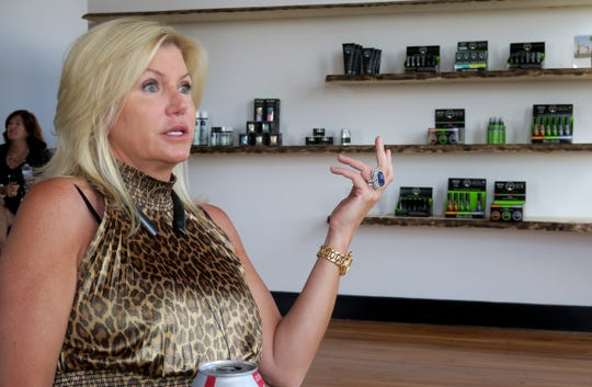 CBD For Life owner Beth Stavola speaks during an interview in her office at the the Galleria in Red Bank Monday, July 15, 2019.  The company was recently acquired by a New York City cannabis company for $10.4 million.