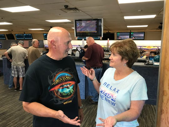 Bayville residents Patricia and John Sudol speak about President Trump's latest tweets inside Ocean Lanes in Lakewood