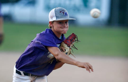 Two River's David Carr pitches to a Milltown batter during their 2019 Little League Baseball Section 3 Tournament at the Toms River East Little League complex Monday evening, July 15, 2019