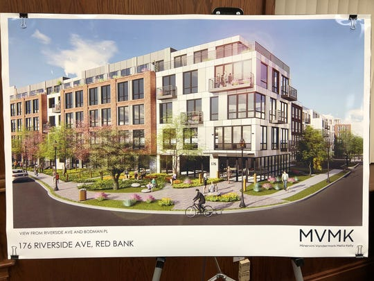 Photo of artist's rendering of 210-unit apartment complex proposed for Bodman Place and Riverside Avenue in downtown Red Bank.