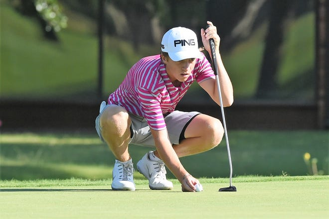 Abilene's Karson Grigsby competes during the first round of the 2019 AJGA Folds of Honor Junior Championship hosted by Bob Estes at the Abilene Country Club - South Course on Tuesday. Grigsby, who will be a sophomore at Cooper in the fall, shot 3-under-69 on Wednesday to go into the final round tied for first at 139.