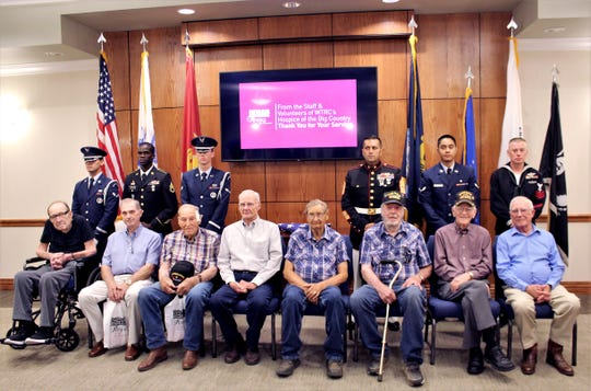 The eight men honored at a Korean War dinner event by Hospice of the Big Country were joined by younger airmen, Marines and a sailor last week at the West Texas Rehabilitation Center. From left, Clifford Hollis, Paul Brown, Art Viertel, Terry Smith, Claude Boyd, Clifford Archa, Johnny Greenfield and Ron Diener. July 11 2019