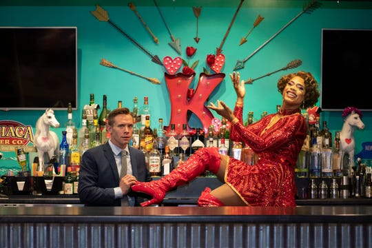 From left, Brian Sears (Charlie Price) and Darius Harper (Lola) star in 'Kinky Boots.'