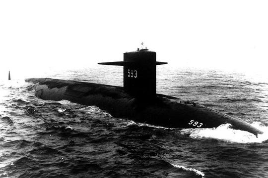 The USS Thresher, seen here in an undated Navy photo. The nuclear-powered submarine sank in April 1963, and a retired Navy captain filed a lawsuit this month to declassify documents related to the tragedy.