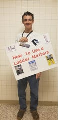 "Christain Olmstead won first place at the regional convention, with his poster entitled ""How to Use a Ladder Matters."""