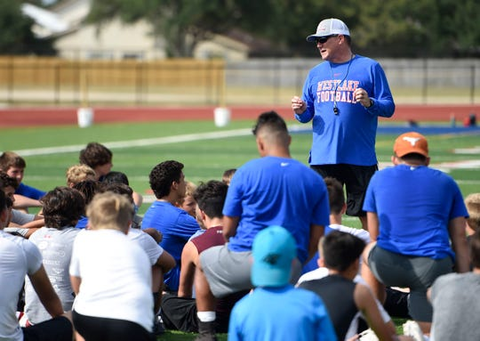 Austin Westlake coach Todd Dodge hosted his football camp in Portland for the second time this week. He speaks to campers at Ray Akins Wildcat Stadium on Tuesday.