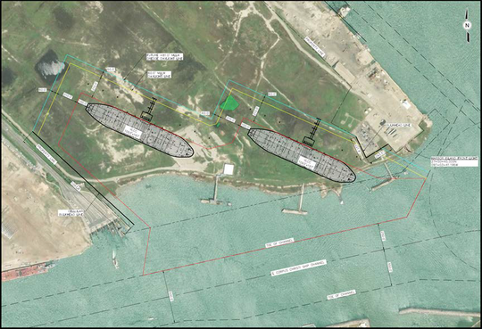 Pictured is a rendering of a proposed dredging project at Harbor Island in Port Aransas by the Port of Corpus Christi that will create an area for vessels to dock.
