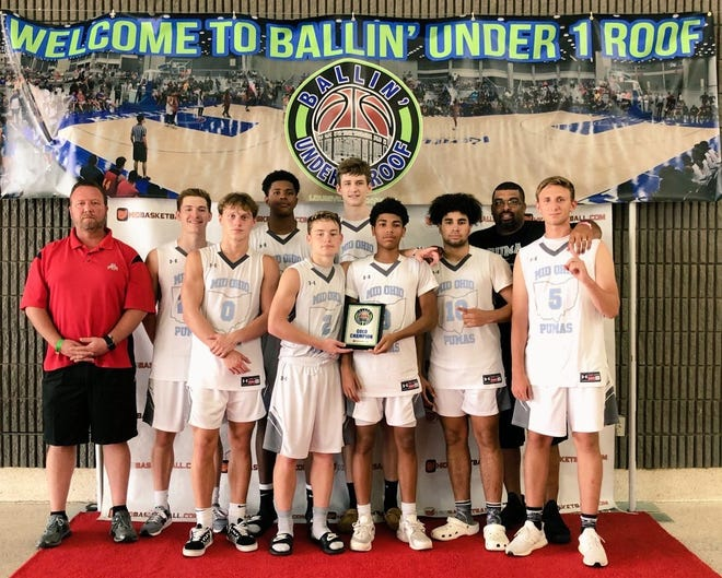 The Mid-Ohio Pumas White team won the 11th-12th Grade Boys East Gold Championship in Louisville, Kentucky. Players pictured: (L-R) Back row: Ethan Hudson, Jayvon Maughmer, and Eric Panning. Front row: Colby Swain, Caleb Wallis, Tre Beard, Cam Evans, and Trey Jeffries.