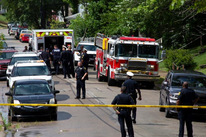 Cincinnati police respond to an officer-involved shooting on Crestline Avenue, East Price Hill, Tuesday, July 16, 2019.