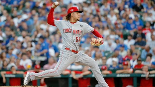 Jul 15, 2019; Chicago, IL, USA; Cincinnati Reds starting pitcher Luis Castillo (58) pitches against the Chicago Cubs during the first inning at Wrigley Field.