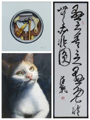 On the left are paintings by Joyce Mo. On the right is Chinese calligraphy by her father, Zequian Mo.