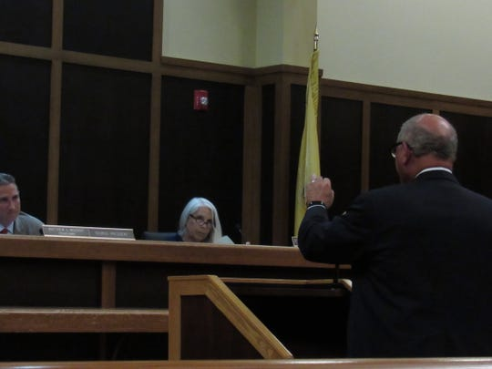 Steve Kalafer, chairman emeritus of the Somerset Patriots, talks to the Bridgewater Township Council on Monday evening.