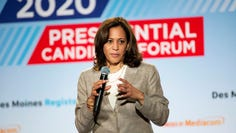 U.S. Sen. Kamala Harris, D-Calif., speaks at the AARP Presidential Forum at the Waterfront Convention Center in Bettendorf, Iowa on July 16, 2019.
