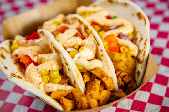 Chicken street tacos from Eat It at the Chicken City stand, one of the new foods at the 2019 Iowa State Fair photographed Tuesday, July 16, 2019.