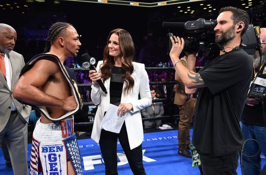 """BROOKLYN - JANUARY 26: Keith Thurman interviewed by Fox Sports' Heidi Androl after his decision win against Josesito Lopez after their WBA welterweight title fight on the """"FOX PBC Fight Night: Thurman vs. Lopez"""" at Barclays Arena on January 26, 2019, in Brooklyn, New York. (Photo by Frank Micelotta/Fox Sports/PictureGroup)"""