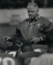 George Perles, born July 16, 1934, coached MSU football from 1983-1994. Perles was elected to the MSU Board of Trustees in 2006 but resigned in 2019.