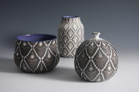 Her own fishnet stockings form the basis for the patterning on Sarah Saks-Fithian's ceramics.