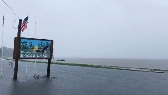 """The flooded welcome sign at the entrance to Eagle Lake community near Vicksburg, Miss. In a Monday, July 15, posting of the short video on Twitter, Gov. Phil Bryant made reference that """"the South Delta has become an ocean,"""" with the additional rainfall from Tropical Depression Barry."""