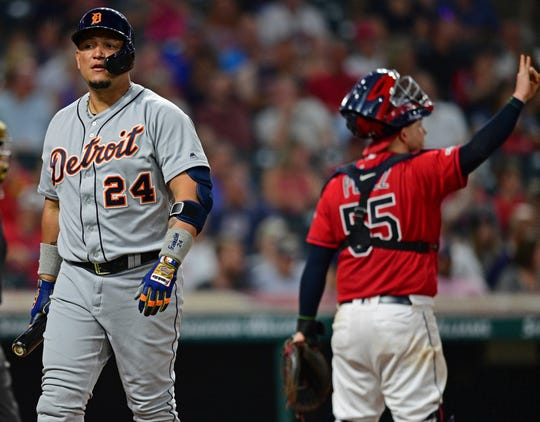 Miguel Cabrera walks to the dugout after striking out in the sixth inning.