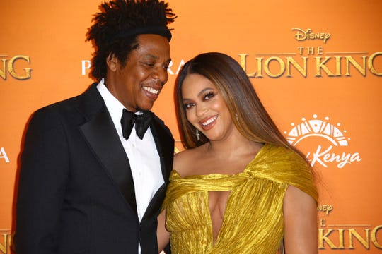 Singers Jay-Z, left, and Beyonce at the 'Lion King' European premiere in central London, Sunday, July 14, 2019.