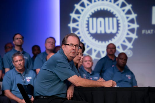 UAW President Gary Jones speaks before the ceremonial handshake to mark the beginning of negotiations between the United Auto Workers and Fiat Chrysler Automobiles at FCA's North America headquarters in Auburn Hills, July 16, 2019.