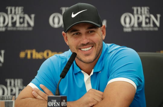 Brooks Koepka speaks at a press conference Tuesday.