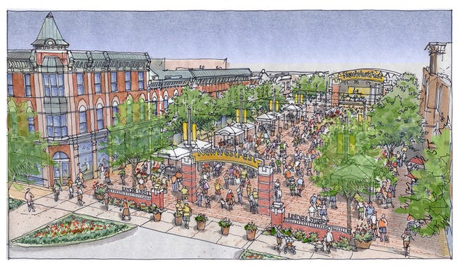 An artist's rendering of what Linden Street between Walnut and Jefferson may look like when it is closed to vehicle traffic.