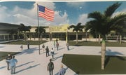 Artist renderings of the new High School MMM in Gateway show the school's main entrance.