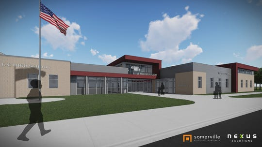 This drawing by Somerville Architects and Engineers shows the design for the new entrance to Luxemburg-Casco High and Middle schools.