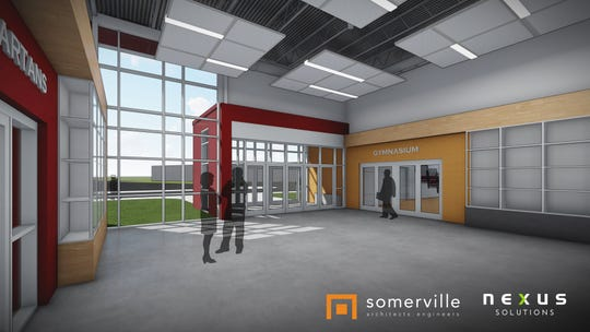 This drawing by Somerville Architects and Engineers shows the design for the lobby and entrance to the new gymnasium at Luxemburg-Casco High School.