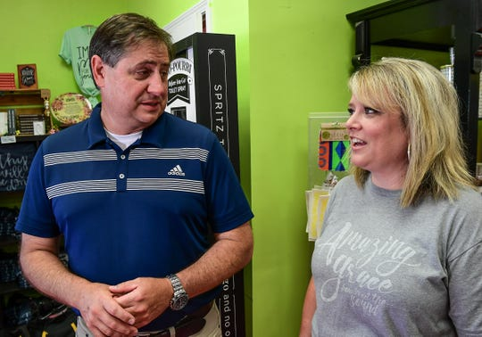 Hal Rice, left, and Angel Rice, owners of Under the Carolina Moon in Easley, talk about giving back to the community and moving to a new location inside the city limits of Easley.