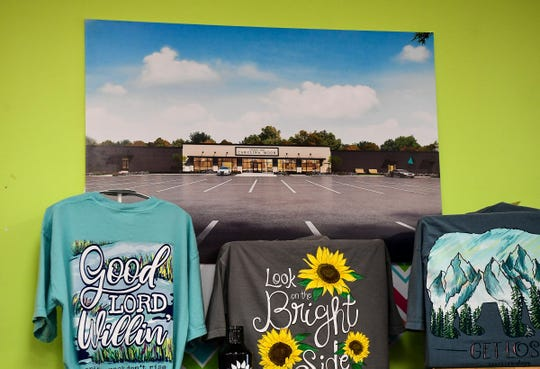 An artist rendering of the new location on U.S.123 in Easley for popular store Under the Carolina Moon, on display at the current store. The owners are moving to a new location on U.S.123 in Easley soon.