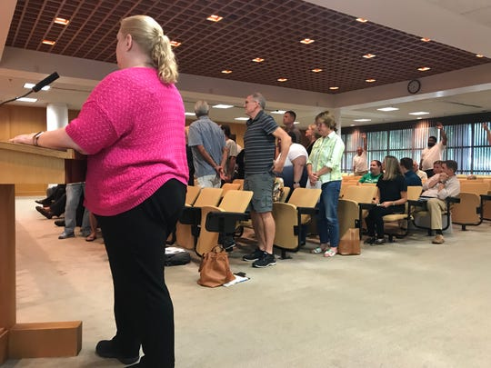 Laura DiSabatino, front in pink, asks everyone opposed to an expansion plan for Copper Creek subdivision to stand Monday, July 15, 2019, during a zoning hearing in front of Greenville County Council members. As proposed, she said, the expansion will draw cars through her neighborhood looking for a way to cut through from Scuffletown to Lee Vaughn roads.