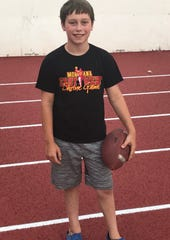 Eleven-year-old Grant Brumwell of Great Falls, last year's Shrine Game Patient Ambassabor, was diagnosed with bilateral clubbed feet as an infant.